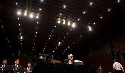 John O. Brennan testifies in front of the United States Senate Select Committee on Intelligence at a hearing on his nomination to be Director of the Central Intelligence Agency on Capitol Hill, Washington, D.C., Thursday, February 7, 2013. (Andrew Harnik/The Washington Times)