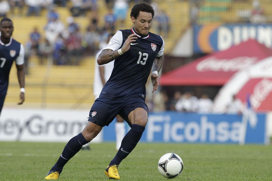 **FILE** Jermaine Jones of the U.S. controls the ball during a 2014 World Cup qualifying soccer game in San Pedro Sula, Honduras, Wednesday Feb. 6, 2013. (AP Photo/Moises Castillo)