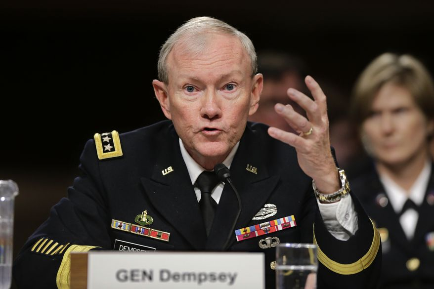 Army Gen. Martin E. Dempsey, chairman of the Joint Chiefs of Staff, testifies on Capitol Hill in Washington on Thursday, Feb. 7, 2013, before the Senate Armed Services Committee hearing on the Pentagon's role in responding to the attack last year on the U.S. Consulate in Benghazi, Libya. (AP Photo/J. Scott Applewhite)