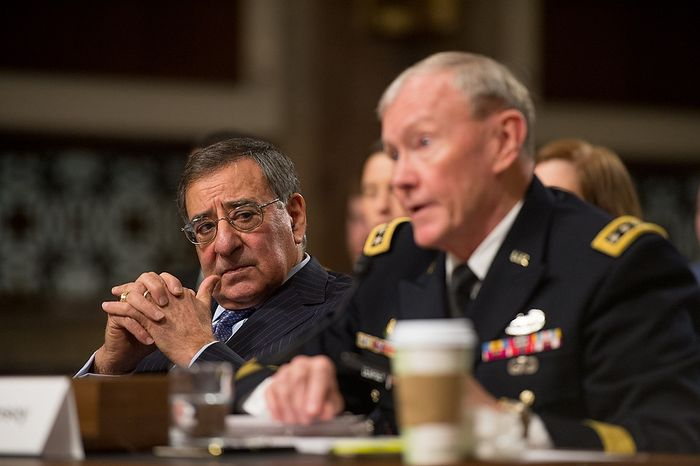 Secretary of Defense Leon E. Panetta (left) and Army Gen. Martin E. Dempsey, chairman of the Joint Chiefs of Staff, testify before the Senate Armed Services Committee on Capitol Hill in Washington on Thursday, Feb. 7, 2013, on the Defense Department's response to the attack on U.S. facilities in Benghazi, Libya. (Andrew Harnik/The Washington Times)