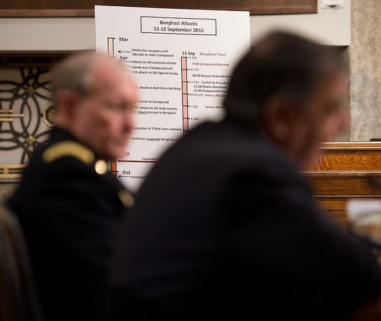 A chart with the time line of the Benghazi attacks can be seen next to Secretary of Defense Leon E. Panetta (right) and Army Gen. Martin E. Dempsey (left), chairman of the Joint Chiefs of Staff, as they testify before the Senate Armed Services Committee on Capitol Hill in Washington on Thursday, Feb. 7, 2013, on the Defense Department's response to the attack on U.S. facilities in Benghazi, Libya. (Andrew Harnik/The Washington Times)