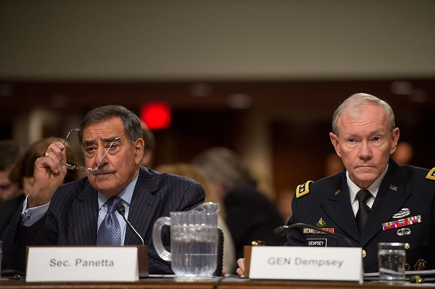 Secretary of Defense Leon E. Panetta (left) and Army Gen. Martin E. Dempsey (right), chairman of the Joint Chiefs of Staff, testify before the Senate Armed Services Committee on Capitol Hill in Washington on Thursday, Feb. 7, 2013, on the Defense Department's response to the attack on U.S. facilities in Benghazi, Libya. (Andrew Harnik/The Washington Times)