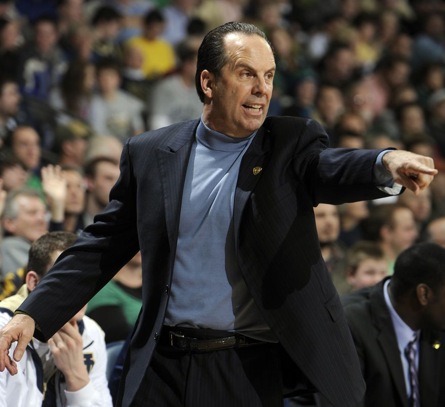 Notre Dame coach Mike Brey during the first half of an NCAA college basketball game against Rutgers, Saturday, Jan. 19, 2013, in South Bend, Ind. (AP Photo/Joe Raymond)