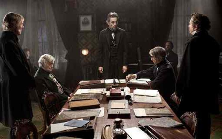 """Daniel Day-Lewis, center rear, plays Abraham Lincoln, in a scene from the film, """"Lincoln.""""  U.S. Rep. Joe Courtney, a Connecticut Democrat who saw a flaw in the movie, says he is pleased the screenwriter has conceded an inaccuracy in its portrayal of an 1865 vote on slavery. (AP Photo/DreamWorks, Twentieth Century Fox, David James, File)"""