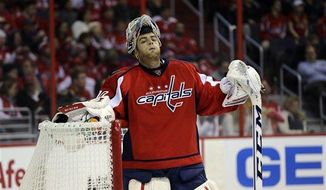 ** File ** Washington Capitals goalie Braden Holtby (70) pauses in the third period of an NHL hockey game against the Winnipeg Jets Tuesday, Jan. 22 in Washington. The Jets won 4-2. (Associated Press)