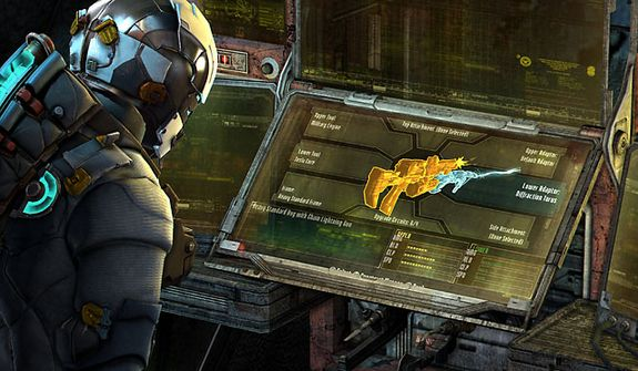 Use a workbench to upgrade a weapon in the video game Dead Space 3.