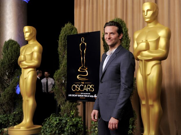 """Bradley Cooper, nominated for best actor in a leading role for """"Silver Linings Playbook,"""" arrives at the 85th Academy Awards nominees luncheon at the Beverly Hilton Hotel on Monday, Feb. 4, 2013, in Beverly Hills, Calif. (Chris Pizzello/Invision/AP)"""