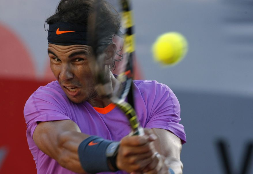 Spain's Rafael Nadal returns the ball to Argentina's Horacio Zeballos during the final of the VTR Open in Vina del Mar, Chile, Sunday, Feb. 10, 2013. Nadal lost to Zeballos 6-7 (2), 7-6 (6), 6-4 in Sunday's final of the VTR Open, the Spaniard's comeback tournament after seven months out with a torn tendon in his left knee,in Vina del Mar, Chile, Sundays, Feb. 10, 2013 .(AP Photo/Luis Hidalgo)
