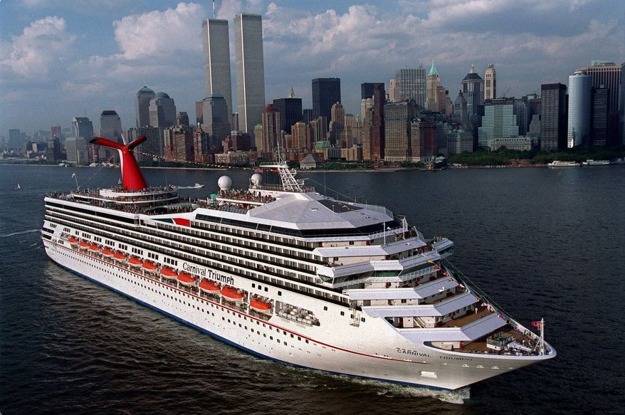 The MS Carnival Triumph departs from New York on her maiden voyage in 1999. (AP Photo/Carnival Lines, Andy Newman)** FILE **