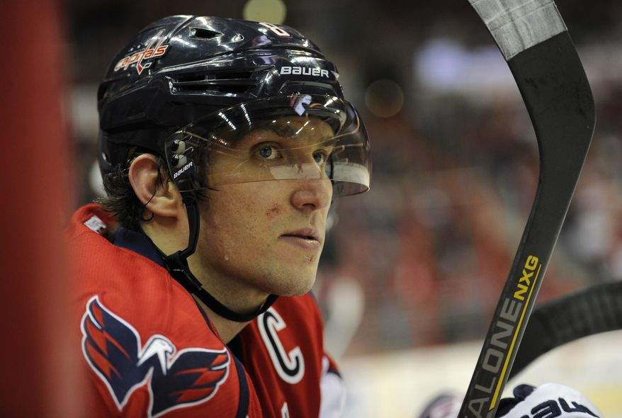 Washington Capitals left wing Alex Ovechkin (8), of Russia, looks on during the third period of an NHL hockey game against the Florida Panthers, Saturday, Feb. 9, 2013, in Washington. The Capitals won 5-0. (AP Photo/Nick Wass)