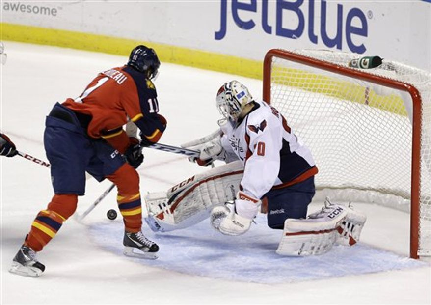 Florida Panthers center Jonathan Huberdeau, left, scores against Washington Capitals goalie Braden Holtby, during the second period of an NHL hockey game, Tuesday, Feb. 12, 2013 in Sunrise, Fla. (AP Photo/Wilfredo Lee)
