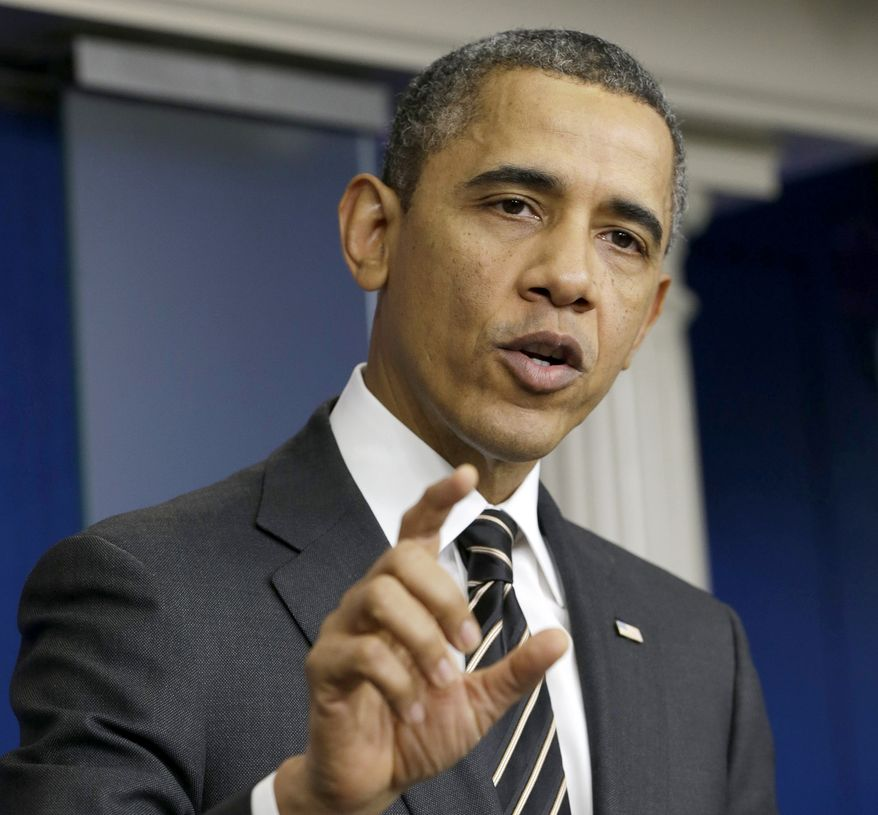 **FILE** President Obama speaks in the James Brady Press Briefing Room of the White House in Washington on Feb. 5, 2013. (Associated Press)