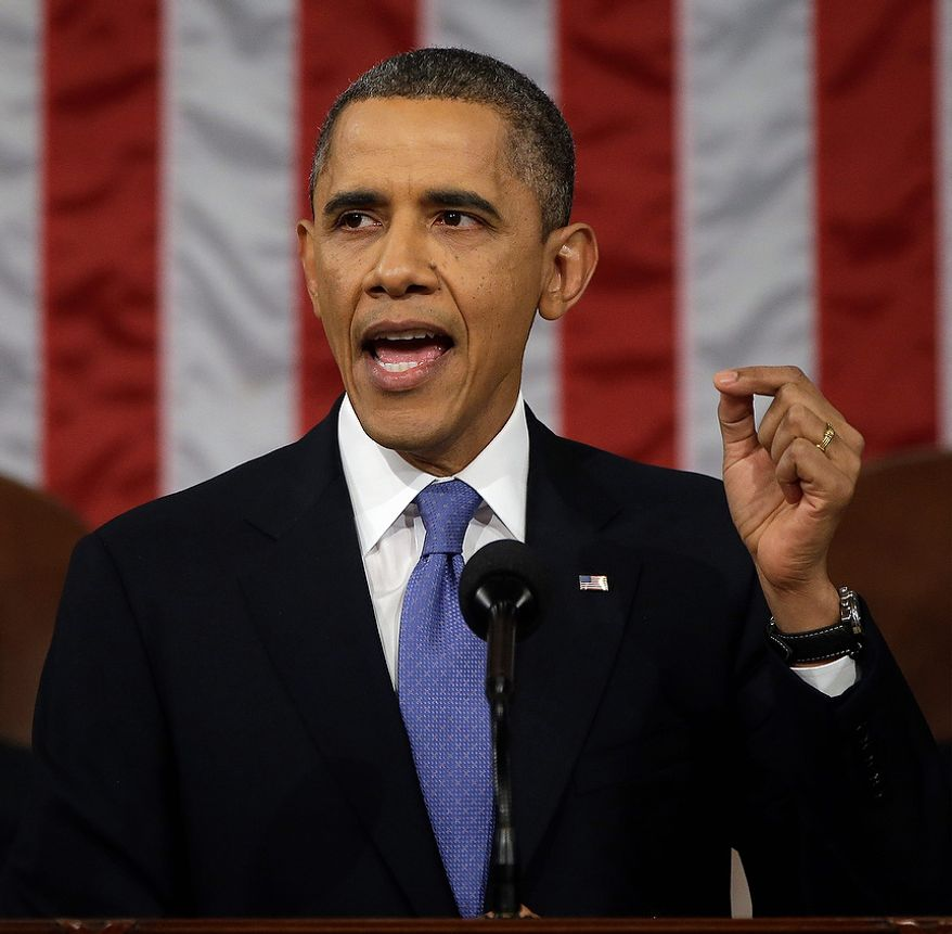 President Barack Obama gestures as he gives his State of the Union address during a joint session of Congress on Capitol Hill in Washington, Tuesday Feb. 12, 2013. (AP Photo/Charles Dharapak, Pool)