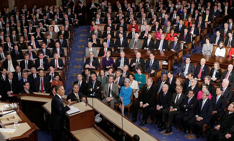 President Barack Obama gives his State of the Union address during a joint session of Congress on Capitol Hill in Washington, Tuesday Feb. 12, 2013. (AP Photo/J. Scott Applewhite)