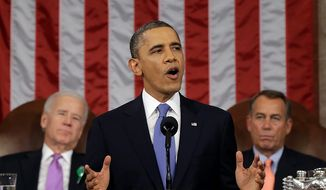 ** FILE ** President Barack Obama, flanked by Vice President Joseph R. Biden and House Speaker John A. Boehner of Ohio, gives his State of the Union address during a joint session of Congress on Capitol Hill in Washington, Tuesday, Feb. 12, 2013. (AP Photo/Charles Dharapak, Pool)