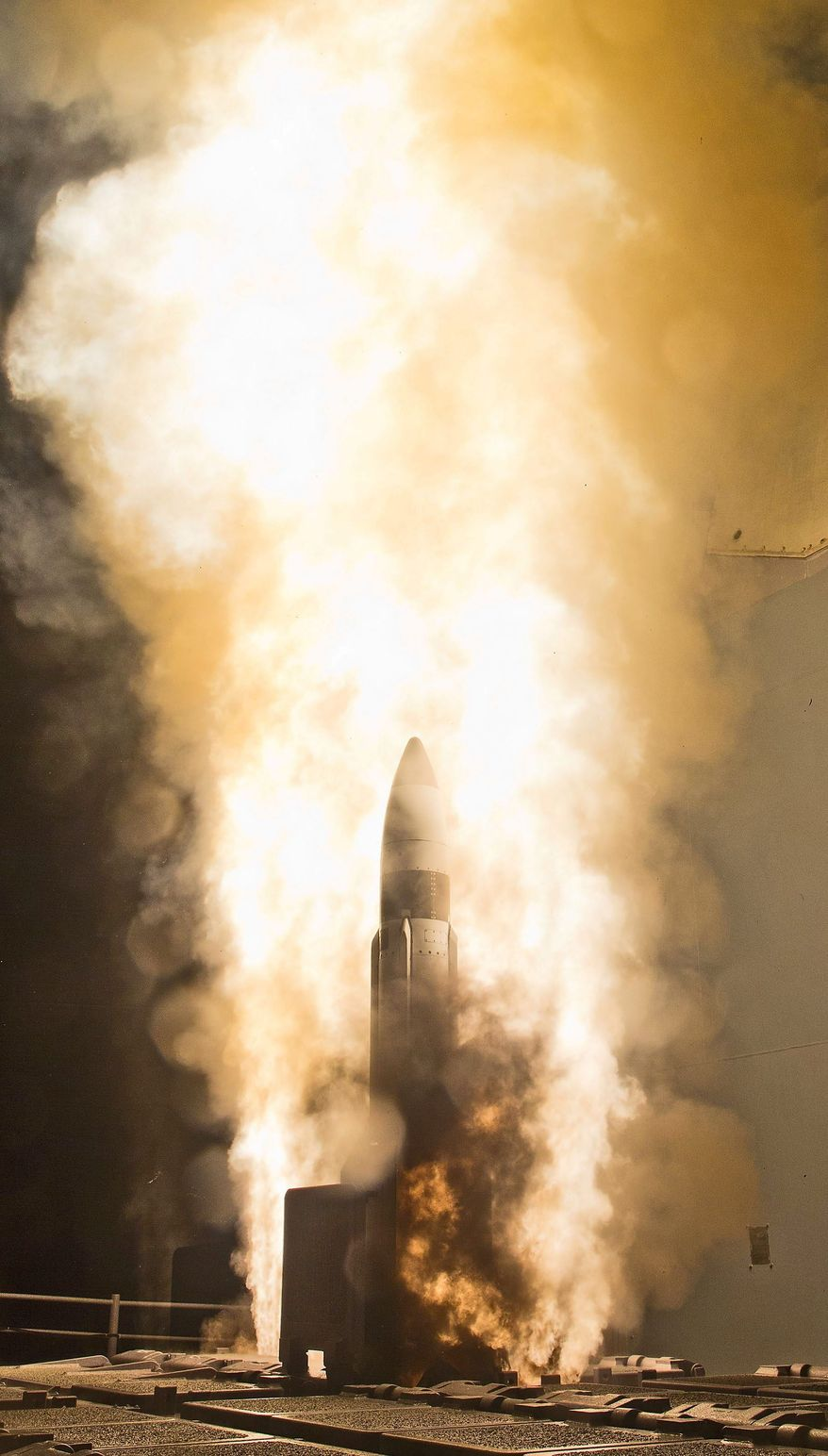 A Standard Missile-3 interceptor, like this one launched from a Navy Aegis cruiser, hit a medium-range target missile over the Pacific on Tuesday. (U.S. Navy photograph)