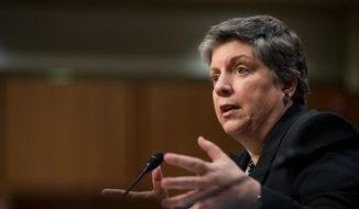Homeland Security Secretary Janet A. Napolitano testifies on Wednesday, Feb. 13, 2013, on Capitol Hill before the Senate Committee on the Judiciary during an immigration hearing. (Andrew Harnik/The Washington Times)