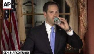 In this frame grab from video, Sen. Marco Rubio, Florida Republican, takes a sip of water during the GOP response to President Obama's State of the Union address on Tuesday, Feb. 12, 2013, in Washington. (AP Photo/Pool)