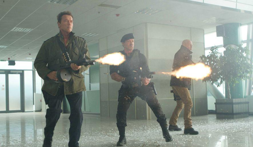 "** FILE ** Arnold Schwarzenegger, Sylvester Stallone and Bruce Willis star in ""The Expendables 2."" (Twentieth Century Fox/dapd via Associated Press)"