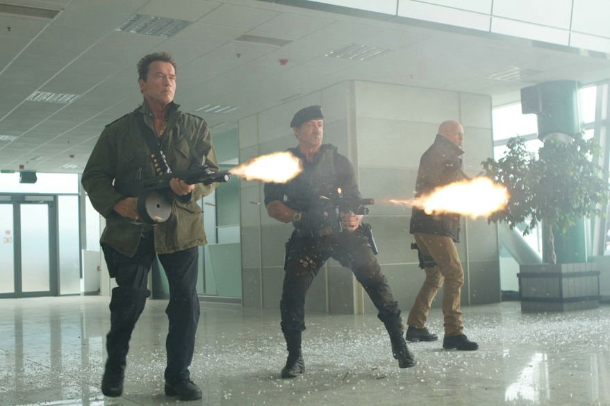 "** FILE ** Arnold Schwarzenegger, Sylvester Stallone and Bruce Willis star in ""The Expendables 2."" (Twentieth Century Fox/dapd via Associated Press)"