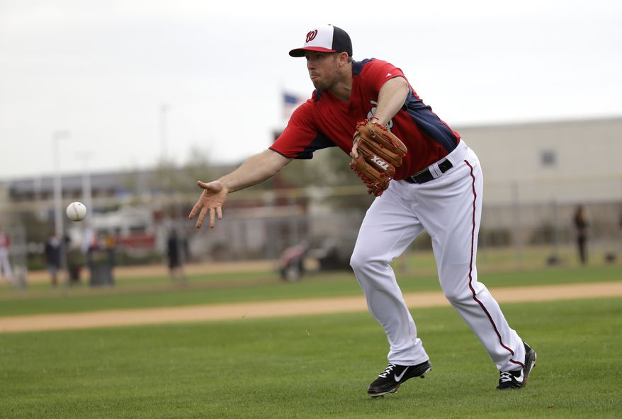 Washington Nationals pitcher Jeremy Accardo tosses the ball to home plate during a spring training baseball workout Thursday, Feb. 14, 2013, in Viera, Fla. (AP Photo/David J. Phillip)