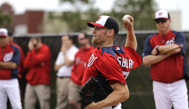 Washington Nationals pitcher Stephen Strasburg throws during a spring training baseball workout Thursday, Feb. 14, 2013, in Viera, Fla. (AP Photo/David J. Phillip)
