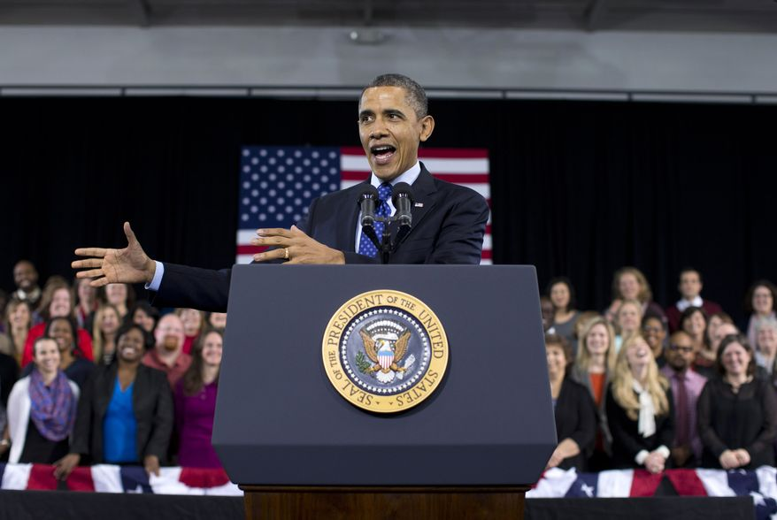 President Obama speaks about education on Thursday, Feb. 14, 2013, at the Decatur Community Recreation Center in Decatur, Ga. The president is traveling to promote the economic and educational plan he highlighted in his State of the Union address on Tuesday. (AP Photo/Evan Vucci)