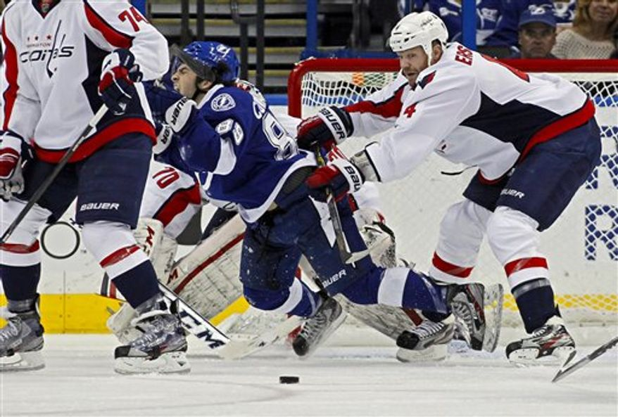 Washington Capitals defenseman John Erskine, right, clears Tampa Bay Lightning's Cory Conacher from the front of the net during the third period of an NHL hockey game on Thursday, Feb. 14, 2013, in Tampa, Fla. The Capitals won 4-3. (AP Photo/Mike Carlson)