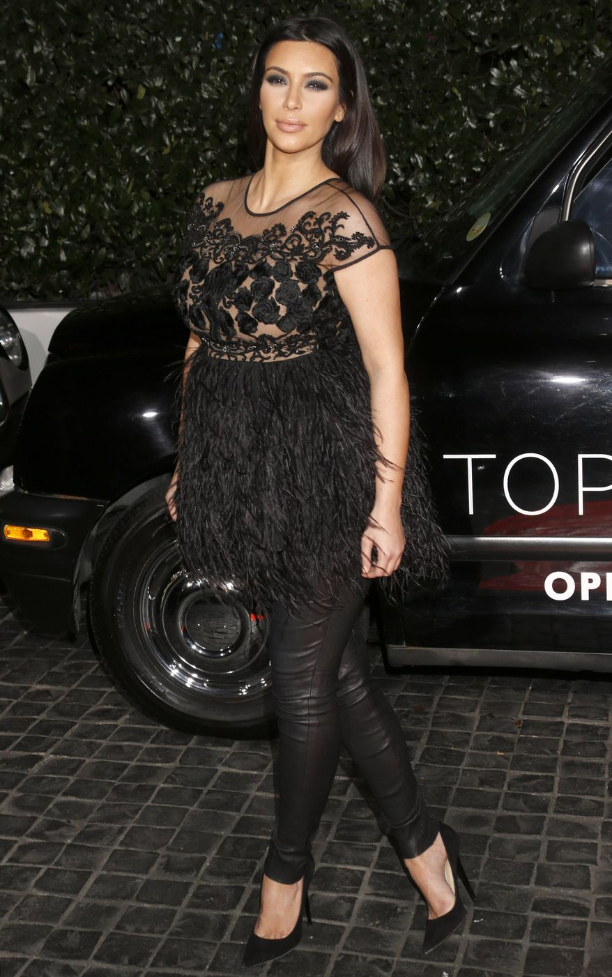Kim Kardashian attends the Topshop Topman LA Opening Party At Cecconi's in Los Angeles on Feb. 13, 2013. (Todd Williamson/Invision/Associated Press)