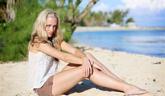 "** FILE ** Reeva Steenkamp poses on set during the shooting of the reality show ""Tropika Island of Treasure."" South Africa's national broadcaster says it will screen the show featuring the dead model girlfriend of double-amputee athlete Oscar Pistorius, two days after she was shot and killed at Pistorius' home. (Associated Press)"