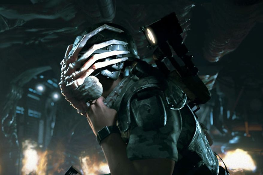 Meet a facehugger in the first person shooter Aliens: Colonial Marines.