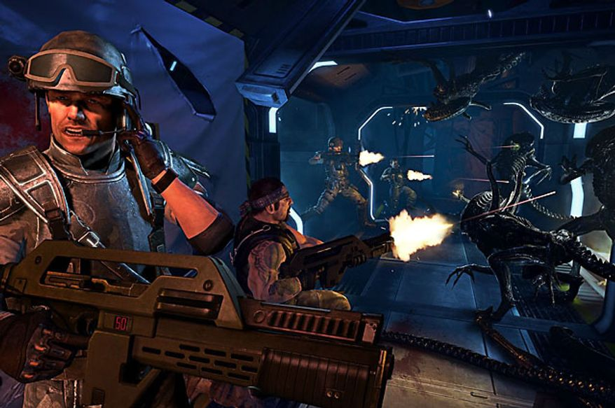 Big guns help stop attacking Xenomorphs in the first person shooter Aliens: Colonial Marines.