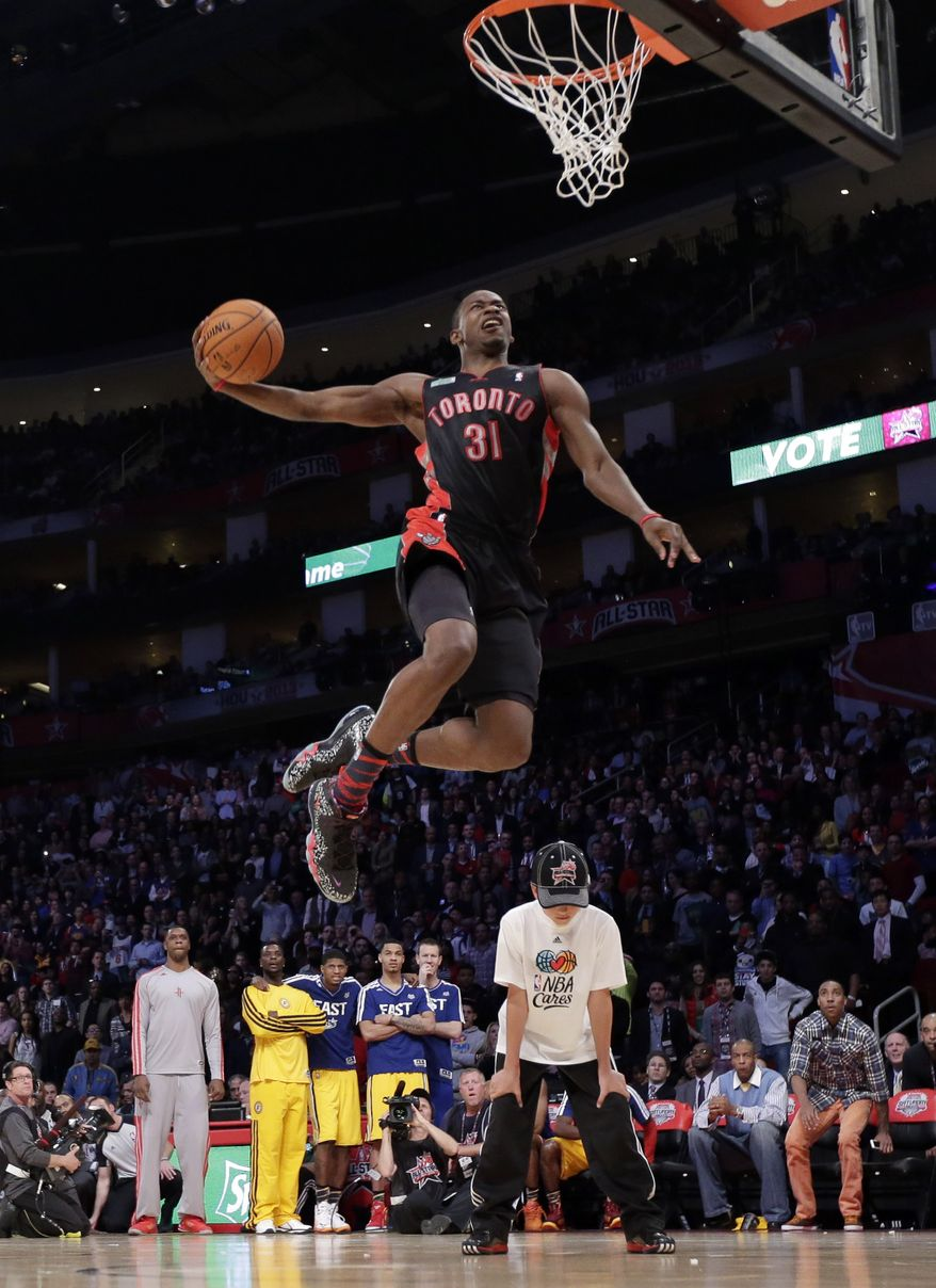 Terrence Ross of the Toronto Raptors takes his turn the slam dunk contest during NBA All-Star Saturday Night basketball Saturday, Feb. 16, 2013, in Houston. (AP Photo/Eric Gay)