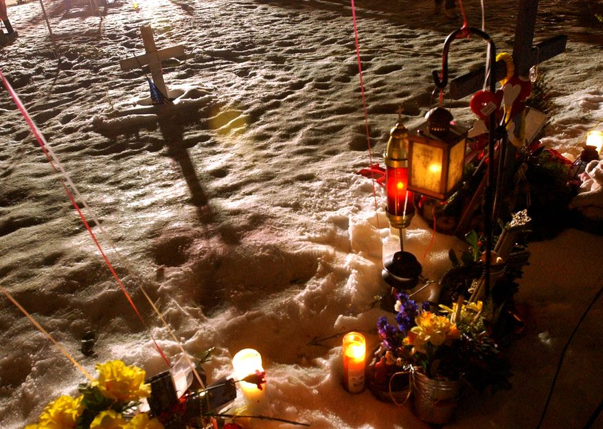 ** FILE ** A makeshift memorial at the site of the former Station nightclub marks the one-year anniversary of a fire that killed 100 people at the club in West Warwick, R.I. (AP Photo/Gretchen Ertl, Pool)