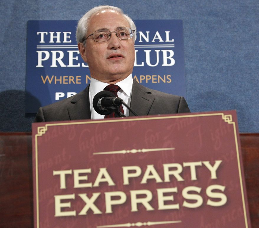Tea Party Express chief strategist Sal Russo speaks at the National Press Club in Washington on May 11, 2011. (Associated Press) ** FILE **