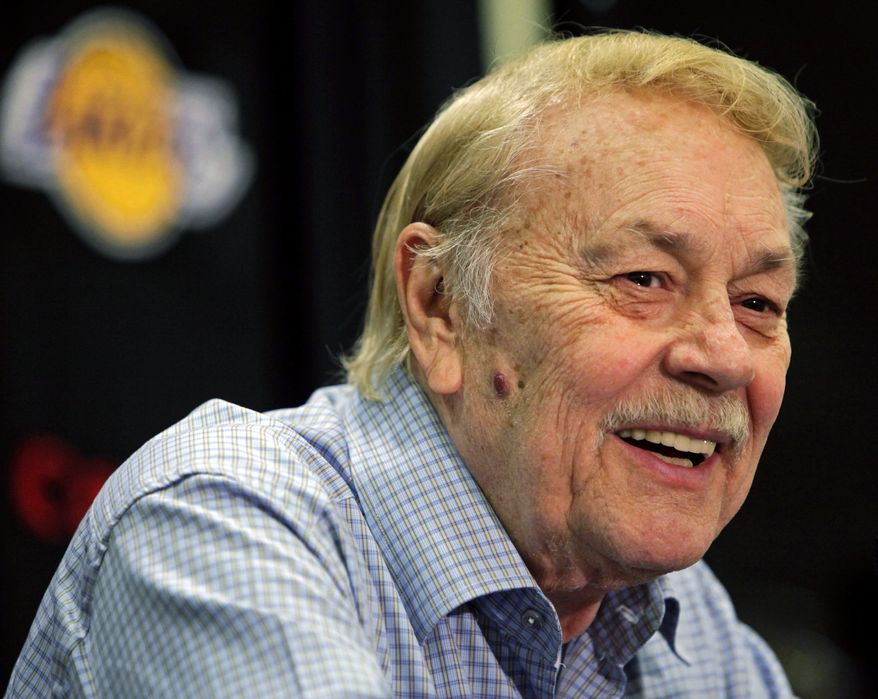 **FILE** Los Angeles Lakers owner Jerry Buss smiles Aug. 17, 2010, during a news conference in Bell Gardens, Calif. (Associated Press)