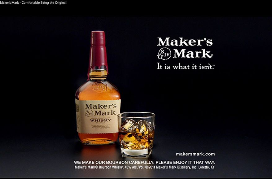 ** FILE ** This file still-frame image, made from video provided by Maker's Mark Distillery Inc., shows a bottle of Maker's Mark in an advertisement. After a backlash from customers, the producer of Maker's Mark bourbon is reversing a decision to cut the amount of alcohol in bottles of its famous whiskey. (AP Photo/Marker's Mark Distillery Inc., File)