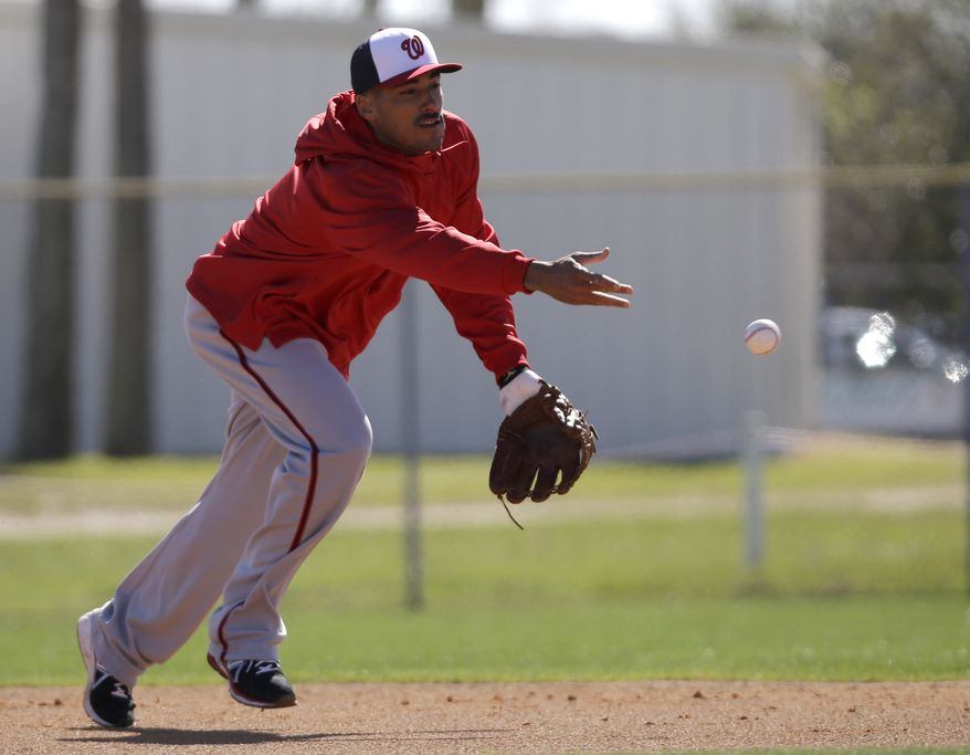 Washington Nationals shortstop Ian Desmond tosses the ball to first during a spring training baseball workout Sunday, Feb. 17, 2013, in Viera, Fla. (AP Photo/David J. Phillip)