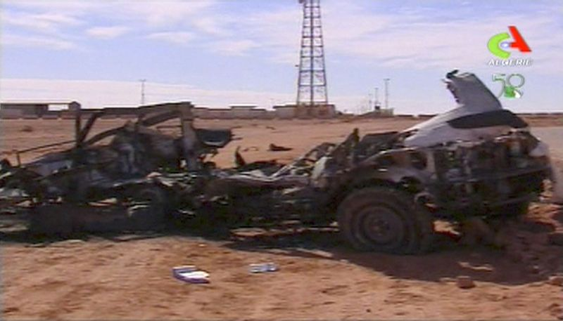 **FILE** In this image taken from an Algerian TV broadcast on Jan. 20, 2013, the aftermath of a hostage crisis at the remote Ain Amenas gas facility in Algeria is seen. Algerian special forces stormed the plant to end the four-day siege, moving in to thwart what government officials said was a plot by the Islamic extremists to blow up the complex and kill all their captives with mines sown throughout the site. (Associated Press/Algerie TV via Associated Press TV)