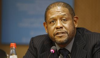 **FILE** Oscar-winning actor Forest Whitaker addresses reporters during a press conference at the UNESCO headquarters in Paris on Feb. 7, 2012. (Associated Press)