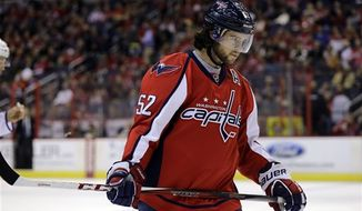Washington Capitals defenseman Mike Green (52) pauses on the ice in the first period of an NHL hockey game against the Toronto Maple Leafs Tuesday, Feb. 5, 2013 in Washington. (AP Photo/Alex Brandon)