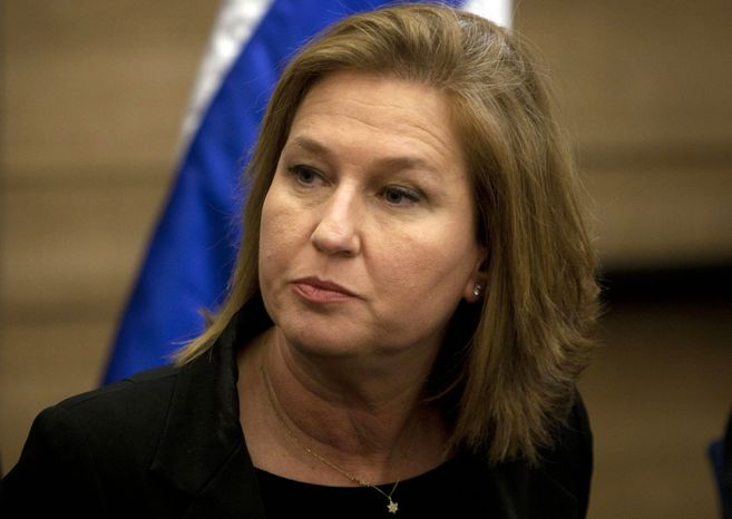 ** FILE ** Former Israeli Foreign Minister Tzipi Livni attends a news conference at the Knesset, Israel's parliament, in Jerusalem on Wednesday, Nov. 30, 2011. (AP Photo/Sebastian Scheiner)