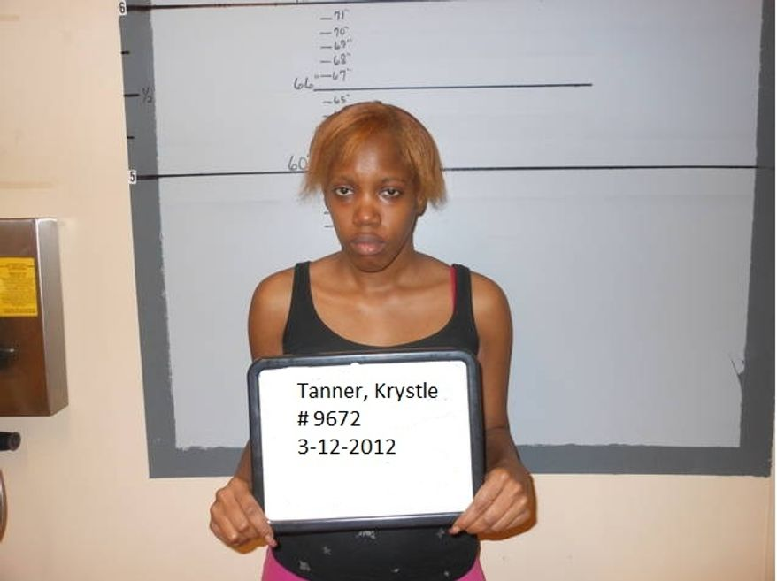 Krystle Tanner, shown in a booking photo, was, along with her mother, found guilty of kidnapping Miguel Morin and holding him for eight years. (AP Photo/San Augustine Sheriff's Office)
