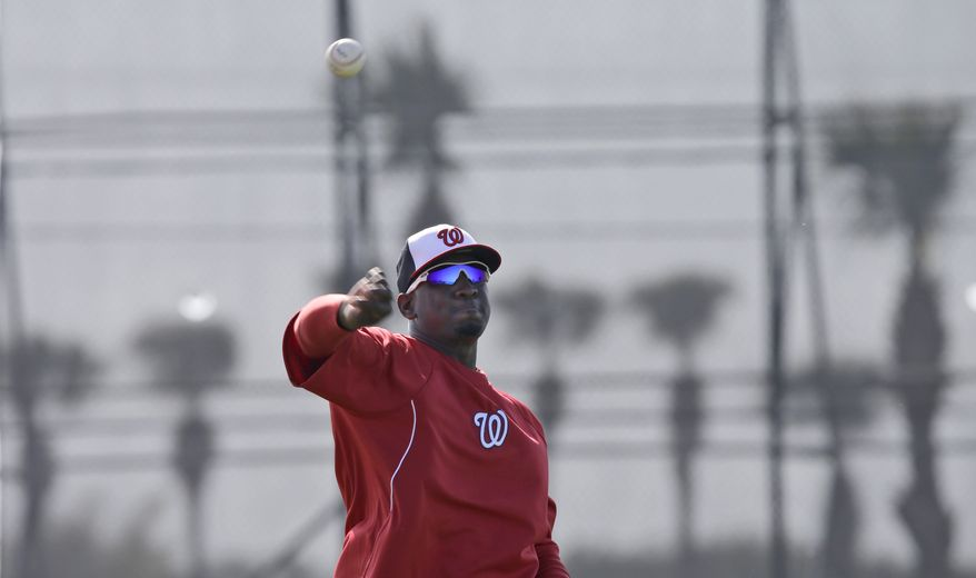 Washington Nationals pitcher Rafael Soriano throws during a spring training baseball workout Tuesday, Feb. 19, 2013, in Viera, Fla. (AP Photo/David J. Phillip)