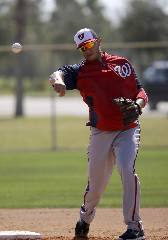 Washington Nationals third baseman Carlos Rivero throws during a spring training baseball workout Tuesday, Feb. 19, 2013, in Viera, Fla. (AP Photo/David J. Phillip)
