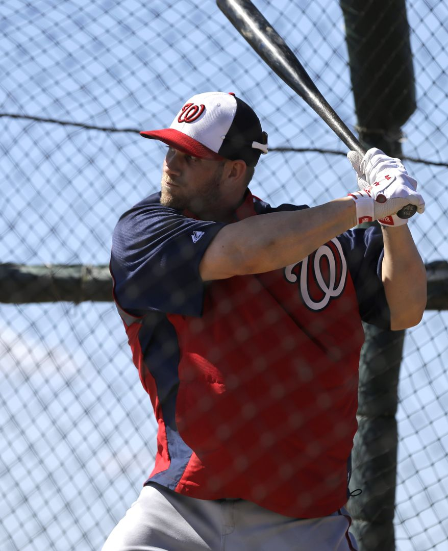 Washington Nationals outfielder Bryce Harper takes batting practice during a spring training baseball workout Tuesday, Feb. 19, 2013, in Viera, Fla. (AP Photo/David J. Phillip)