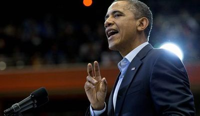President Obama speaks at a campaign event at the Fifth Third Arena on the University of Cincinnati campus on Sunday, Nov. 4, 2012, in Cincinnati. (AP Photo/Carolyn Kaster)