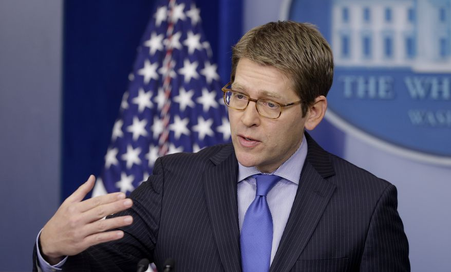 White House spokesman Jay Carney briefs reporters at the White House in Washington on Feb. 19, 2013. (Associated Press)