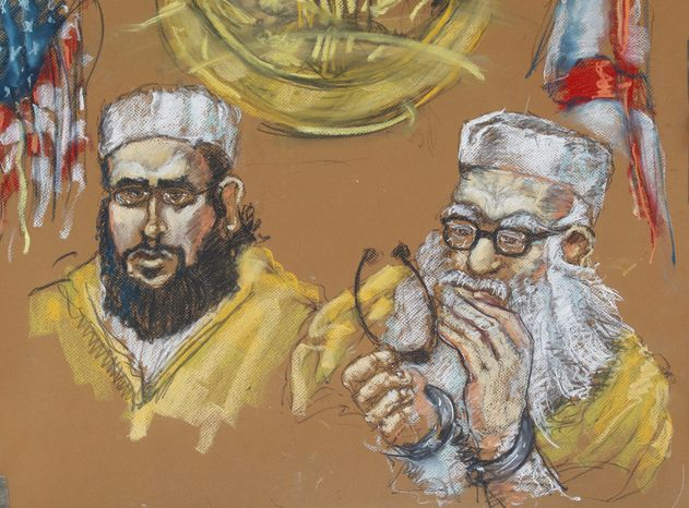 Hafiz Muhammed Sher Ali Khan (right) and one of his sons, 24-year-old Izhar Khan (left), are shown in federal court in Miami in a May 16, 2011, artist's rendering. (AP Photo/Shirley Henderson)