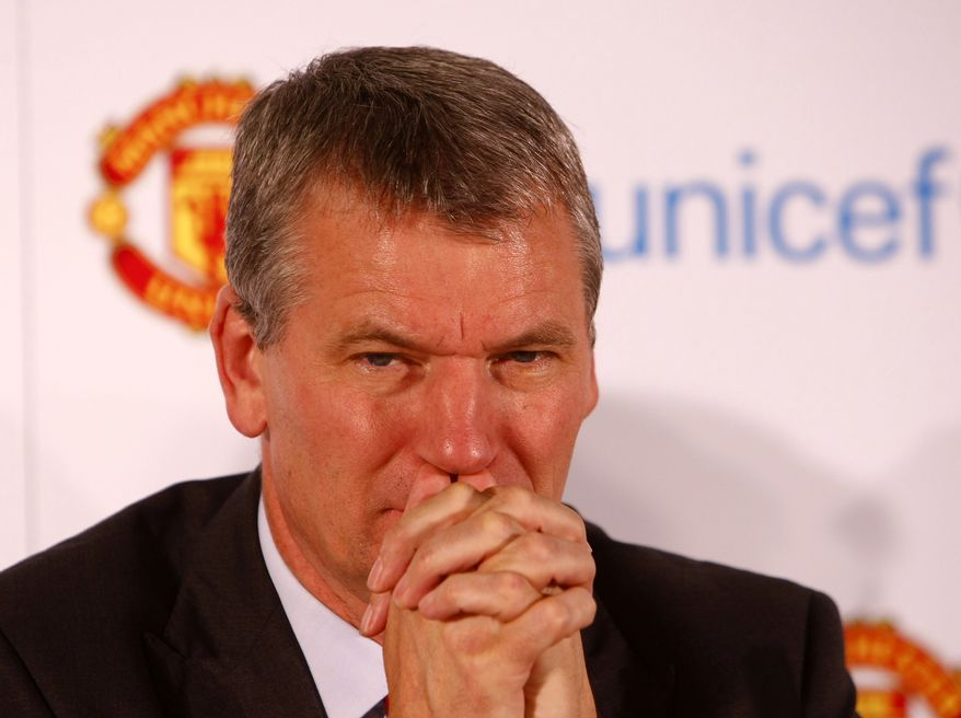 **FILE** Manchester United Chief Executive David Gill during a press conference to announce that 1million pounds ($1.59 million) of funding will be donated to UNICEF's global child survival work, Old Trafford, Manchester, England, Monday Oct. 18, 2010. UNICEF Ambassadors Ryan Giggs and Sir Alex Ferguson will sit on a panel with Manchester United Chief Executive David Gill, UNICEF UK Chief Executive David Bull and UNICEF Director of Fundraising Julie Weston. (AP Photo/Tim Hales)